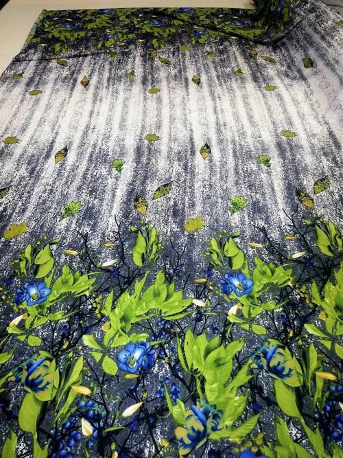 Úplet květinový vzor v bordurách šedý