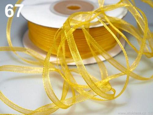 Stuha šifónová š.3mm žlutá