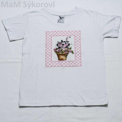 Tričko s originální aplikací kočka v květináči 122