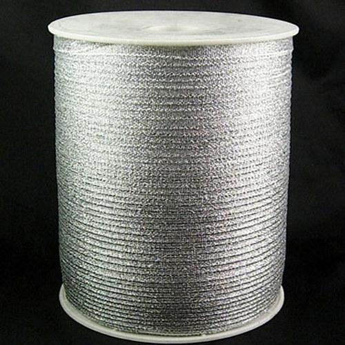 stuha lurexová/3mm/ stříbrná/ 1m