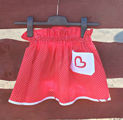 Dětská/dívčí sukně - Červená/Puntíček