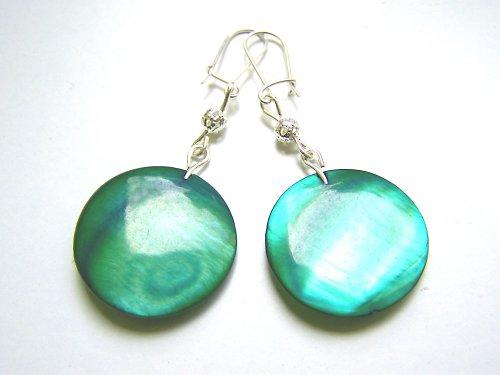 Zelené perleťové náušnice