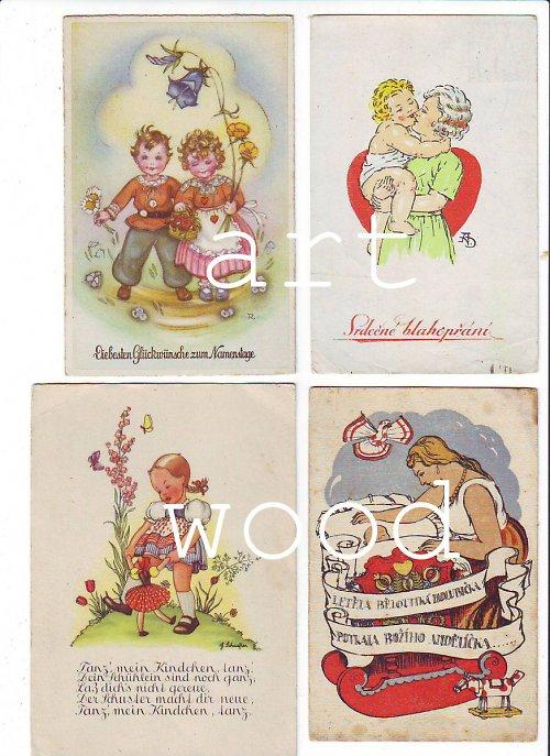 4x pohlednice DĚTSKÉ A MATEŘSKÉ č. 687