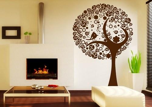 Samolepky na zeď - Ptáček na stromě (78 x 110 cm)