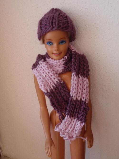 Barbie- čepice a šála