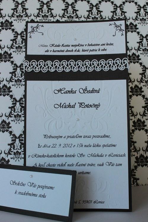 Svadobné oznámenie - čierno biele
