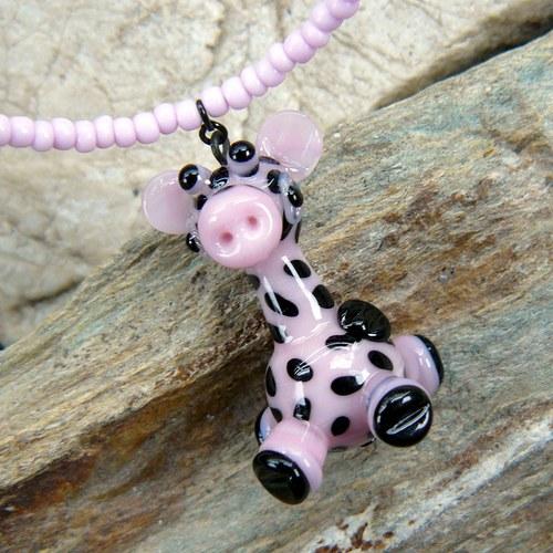 Náhrdelník žirafa růžová - vinutá perle
