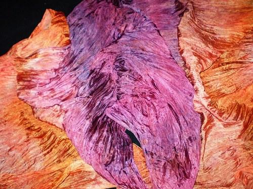 Fialovoměděný-velký hedvábný pléd 180x90