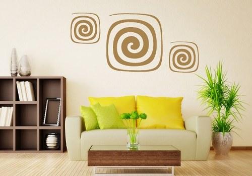 Samolepky na zeď - Abstraktní spirály (48 x 33 cm)