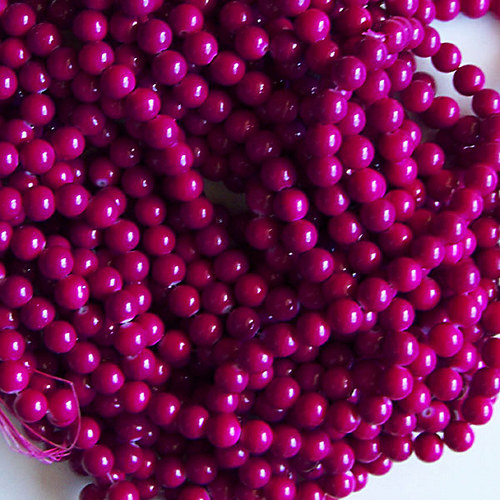 skleněné korálky LESK/ růžovofial. tm./ 10mm/10ks