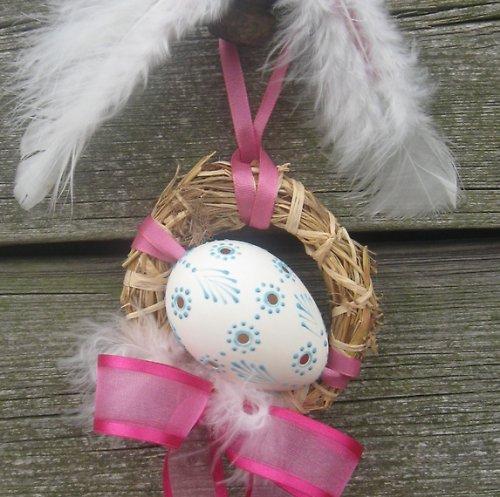 Dekorace kachní vejce-madeira- tyrkysový vosk