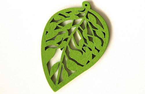 dřevěné lístečky- světle zelené