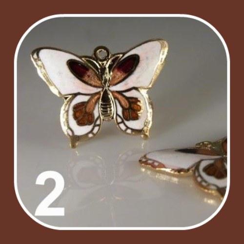 Přívěsek CLOISONNE motýlek 28x20mm bílý