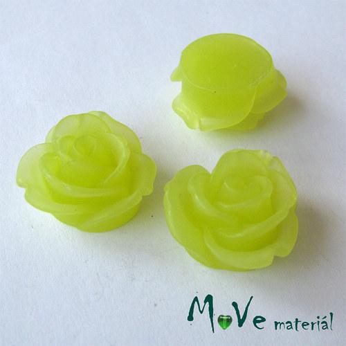Kabošon květ průsvitný A2 resin - 2ks, žlutozelená