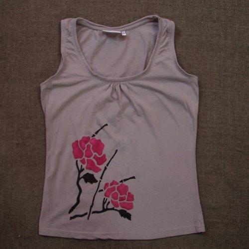 Tílko s čínskou růží - SLEVA z 240,- Kč
