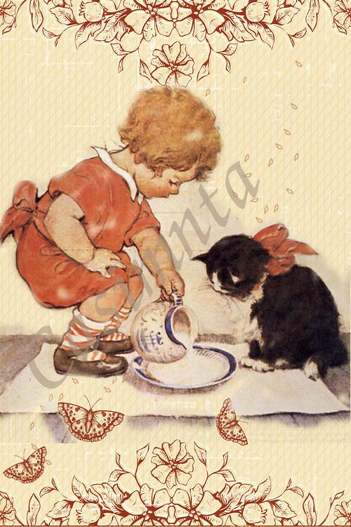 Holčička s kočičkou - vintage motiv