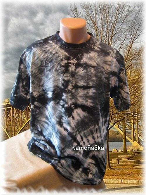 Pánské batikované tričko-černé
