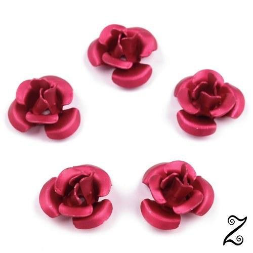 Kovová růžička, růžovočervená, 12 mm (10ks)