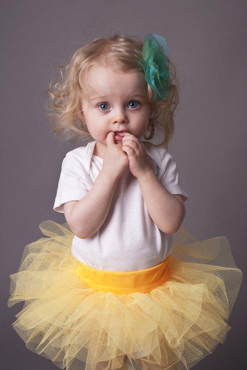 Tylová sukýnka žlutá (1-3 roky)  SLEVA z 350,-