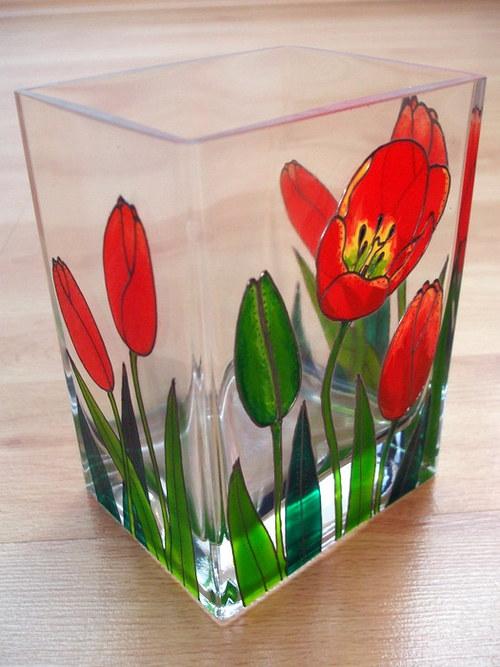 Malovaná skleněná váza, výška 14cm