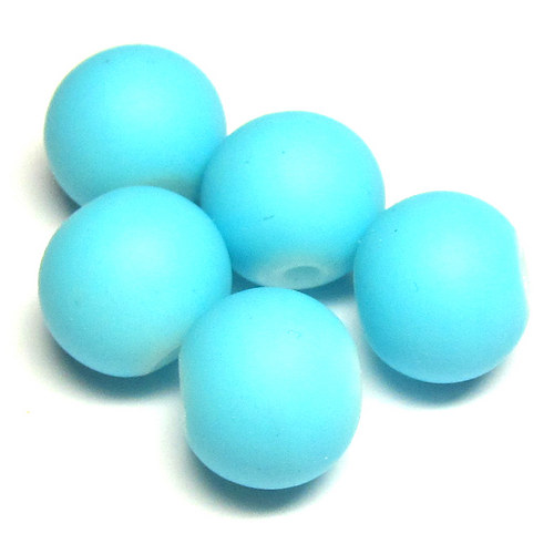 Perly matné - 10 mm - modrá - 7 ks