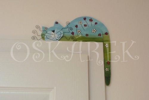 Dřevěná kočka LUČNÍ na dveře nebo polici