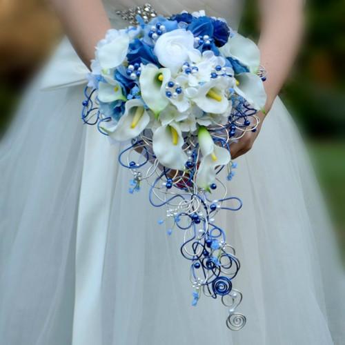 Svatební modrá kytice  Vilemína + korsáž