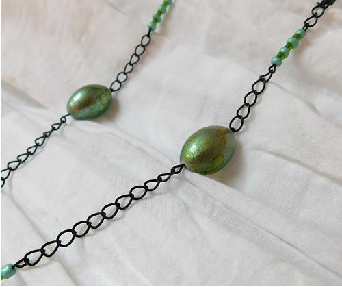 zeleno-modrý náhrdelník