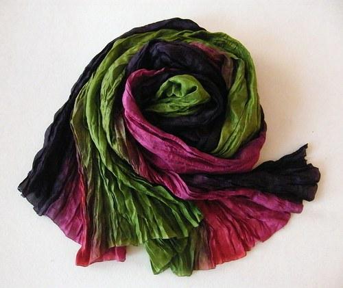 PODZIMNÍ...zeleno fialová...hedvábná šála 90x200