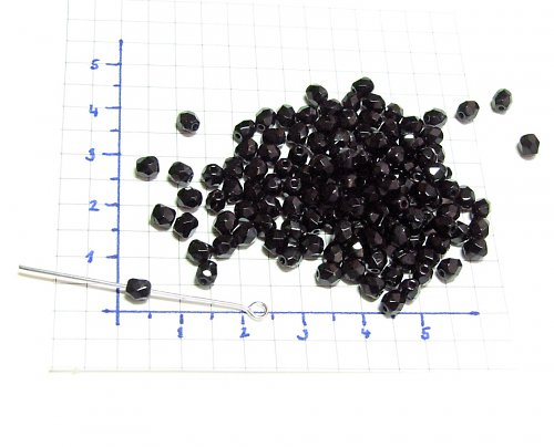 Broušené kuličky, černé korálky 4mm 40 ks
