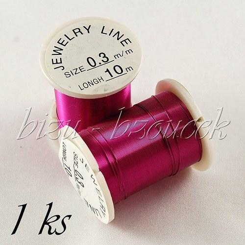 Měděný lakovaný drát fuchsiový 0,3mm 10m - 1ks