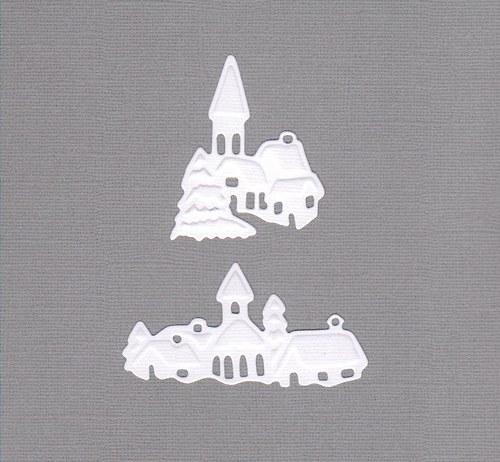 Zasněžená vesnička MIX - bílé výseky (2 ks)