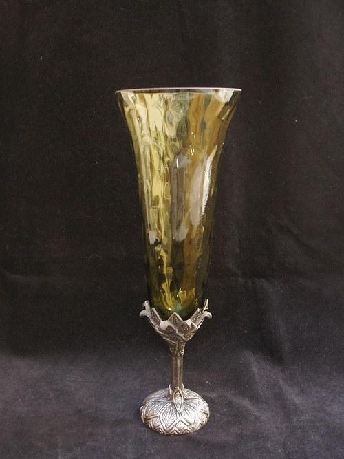 sklenice na víno - s motivem art deco květina