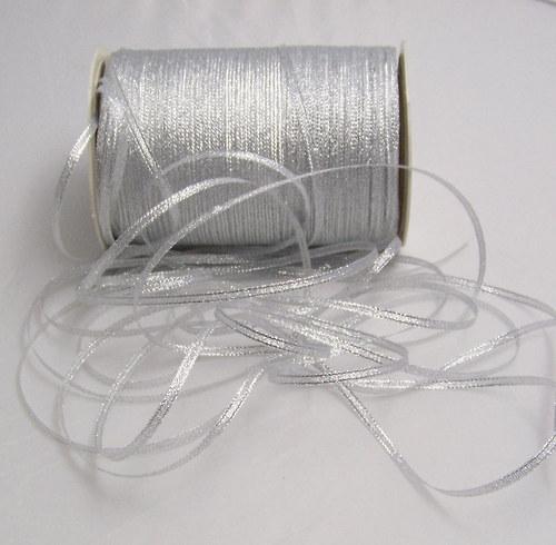 stuha lurexová/3mm/ stříbrná/ 5m