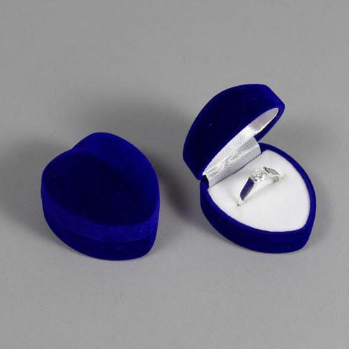Sametová krabička na šperky - modré srdce