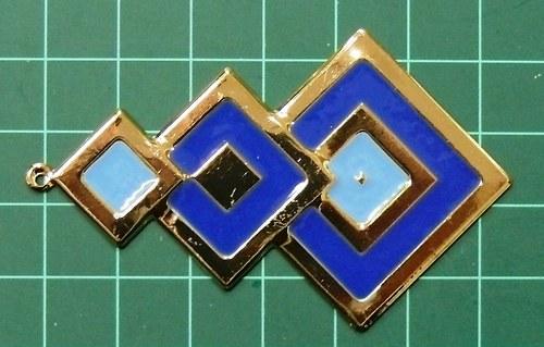 Modré čtverce - přívěsek, 1ks