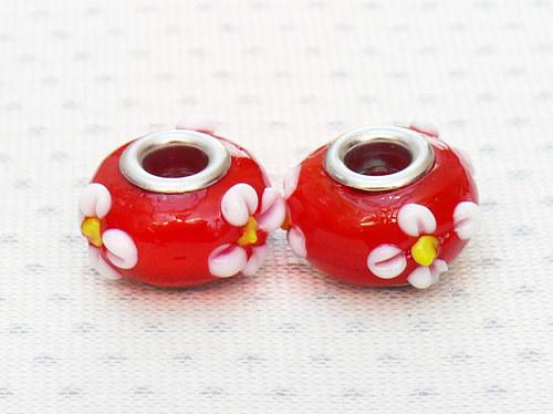 """Skleněné korálky - vinutky \""""červené s květami\"""""""