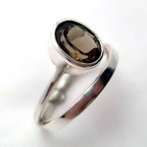 Prsten «Korálek» - stříbro 925, přírodní záhněda