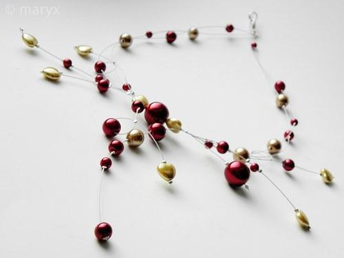 Bohatý plesový náhrdelník se srdíčky
