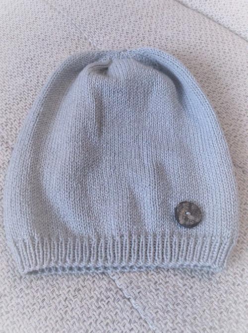 Pletená čepice šedá spadlá 32 (do 55cm)