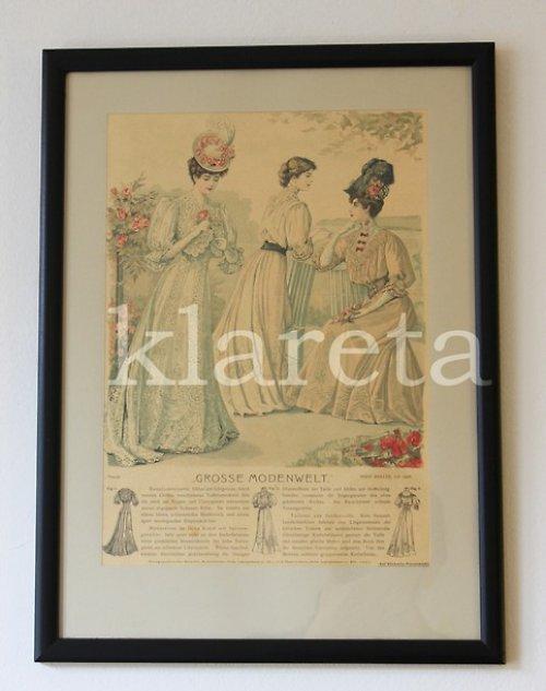 originální módní litografie z roku 1906 v rámu