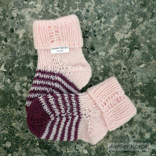 Růžovovínové pruhované ponožky, akryl, vel.10,5 cm