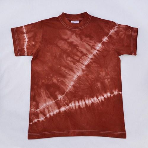 Bílo-vínové batikované triko (vel. XS)
