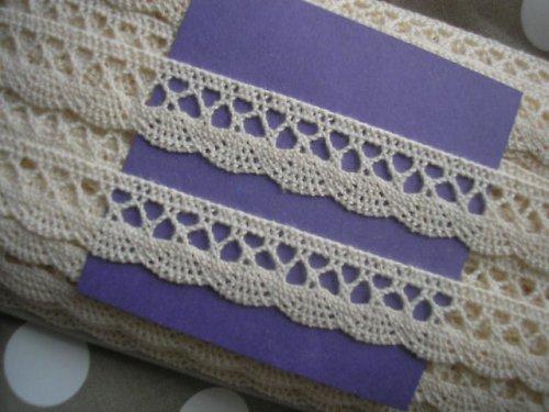 krajka - paličkovaná - PŘÍRODNÍ - 100 % bavlna