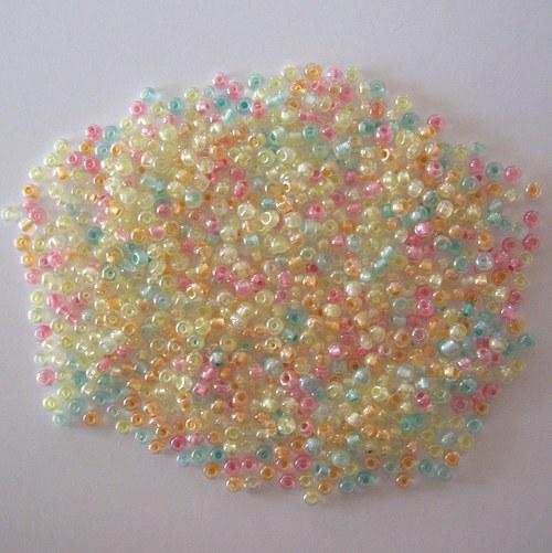 Skleněné korálky - 11/0 mix barevných průtahů