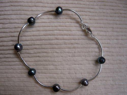 Náramek s tmavými říčními perlami Ag 925/1000