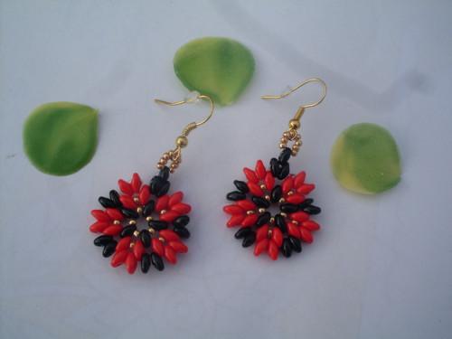 naušnice jarní květ- červený
