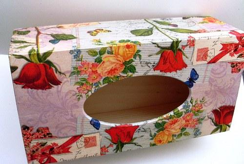 krabička na kapesníky růže a dopis