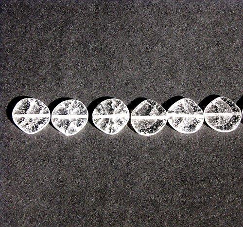 Práskané, čiré korálky, penízek 15 mm, 8 ks