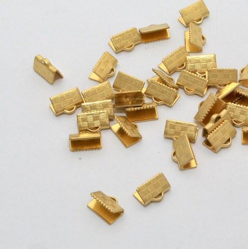 Koncovka na stuhy / 20 ks / 10 x 5 mm / zlato